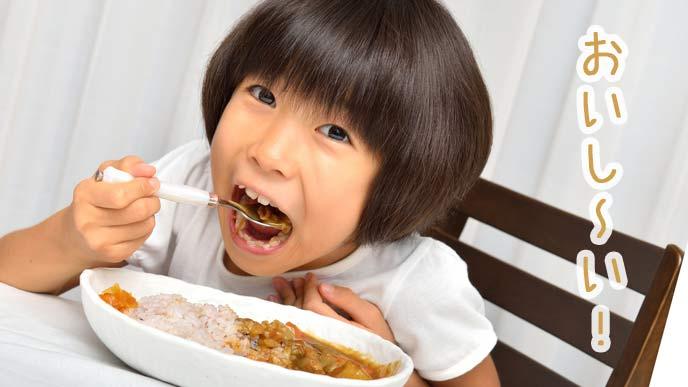 美味しそうにカレーを食べる女の子