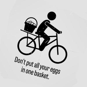 卵は一つのカゴに盛るなのイメージ図