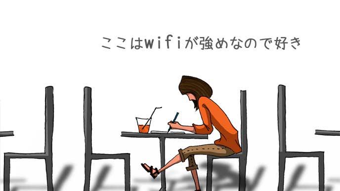 フリーwifiのカフェでのんびりする女性