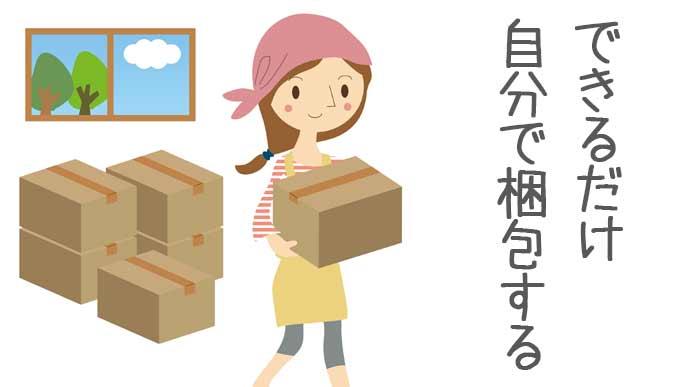 自分で荷物を梱包して節約する女性