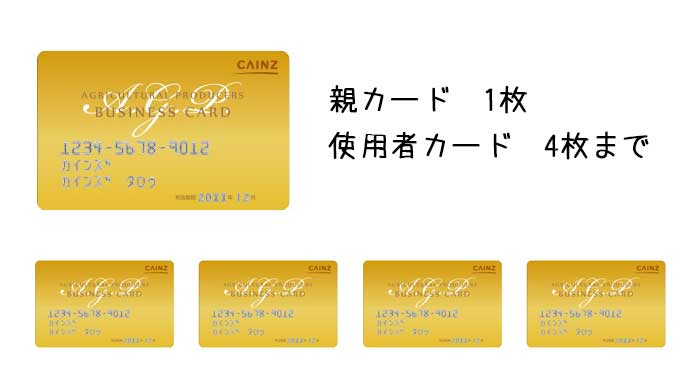 親カード1枚と使用者カードを4枚まで発行可能