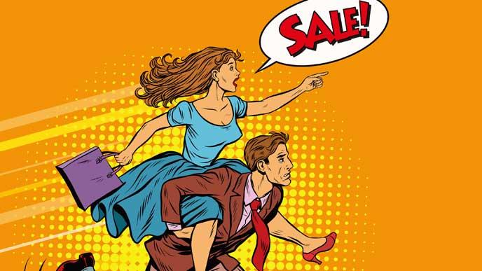 期間限定商品を慌てて購入しようとする女性