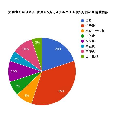大学生10代女性手取り10万円の生活費の内訳円グラフ